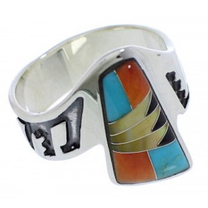Southwestern Multicolor Silver Ring Size 8-1/4 EX40915