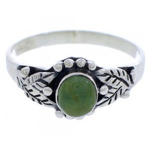 Authentic Sterling Silver Turquoise Leaf Ring Size 6-1/4 UX32060