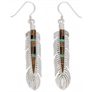 Sterling Silver Multicolor Inlay Feather Earrings EX32010