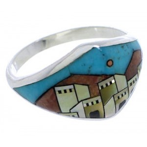 Southwest Silver Multicolor Native American Design Ring Size 6 UX36614