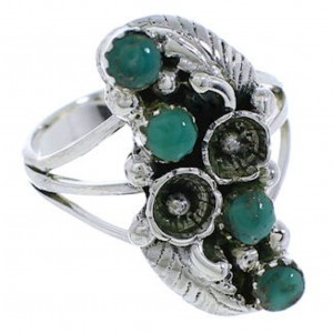 Genuine Sterling Silver Turquoise Flower Ring Size 6-1/2 EX45220