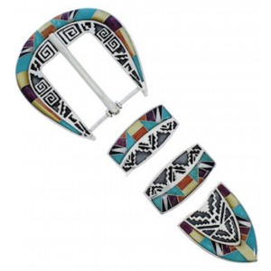 Multicolor Inlay Southwest Sterling Silver Ranger Belt Buckle TX40803