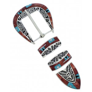 Multicolor Inlay Southwestern Ranger Belt Buckle TX40799