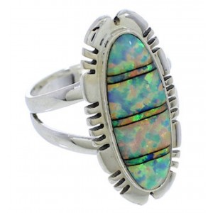 Genuine Silver Southwest Opal Inlay Ring Size 8-1/4 TX38153