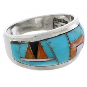 Sterling Silver And Multicolor Southwest Ring Size 8-1/4 EX50885