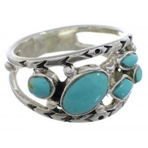 Southwestern Turquoise Sterling Silver Ring Size 6-3/4 TX40198