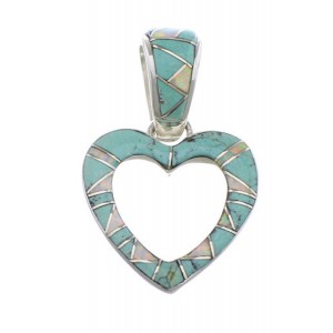 Opal And Turquoise Southwest Heart Pendant PX28751