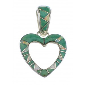 Silver Turquoise Heart And Opal Inlay Pendant PX28774