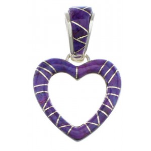 Magenta Turquoise Heart Sterling Silver Pendant PX28786