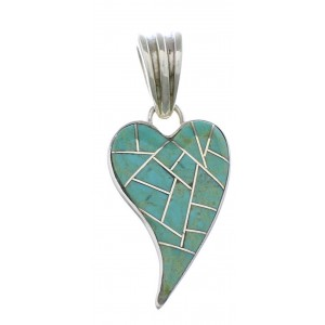 Turquoise Inlay Heart Southwest Silver Pendant PX28807
