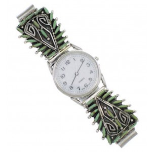 Turquoise Needlepoint Sterling Silver Water Wave Watch MX23826