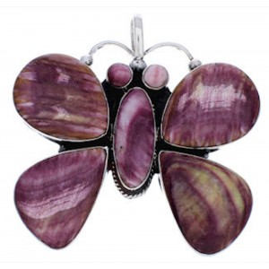 Purple Oyster Shell And Sterling Silver Butterfly Pendant PX23656