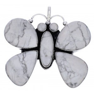 Genuine Sterling Silver And Howlite Butterfly Pendant PX23665