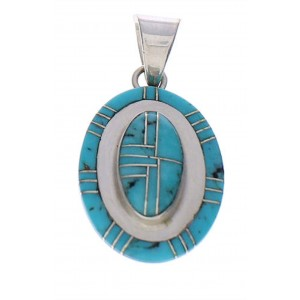 Turquoise Inlay Genuine Sterling Silver Pendant PX29568