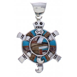 Southwestern Multicolor Sterling Silver Turtle Jewelry Pendant PX29429