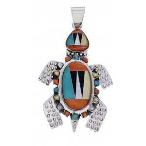 Southwestern Sterling Silver Turtle Multicolor Inlay Pendant PX29457