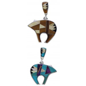 Multicolor Reversible Genuine Sterling Silver Bear Pendant PX29463