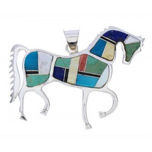 Multicolor And Sterling Silver Southwest Horse Pendant EX29775