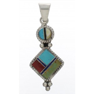 Southwestern Sterling Silver Multicolor Inlay Slide Pendant TX28844