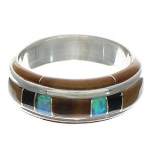 Multicolor Inlay Southwestern Ring Size 8-1/2 EX41743