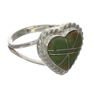Turquoise Inlay Southwest Heart Ring Size 7-1/2 EX42052