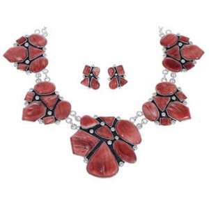 Red Oyster Shell Southwest Link Necklace And Earrings Set EX32907