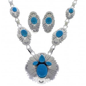 Southwest Silver And Turquoise Link Necklace And Earrings Set EX32927