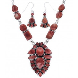 Red Oyster Shell Silver Link Necklace And Earrings Set EX32933