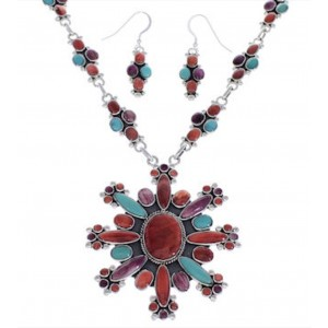 Southwest Multicolor Link Necklace And Earrings Set EX32976