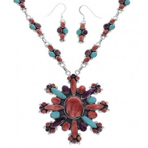 Multicolor Southwestern Link Necklace And Earrings Set EX32978