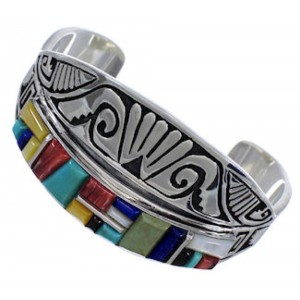 Multicolor Inlay Sterling Silver Jewelry Southwest Bracelet FX27909