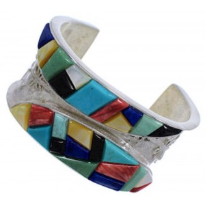 Dragonfly Sterling Silver Multicolor Southwest Cuff Bracelet FX27174