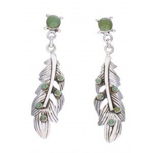 Turquoise Southwest Feather Silver Post Dangle Earrings PX32386