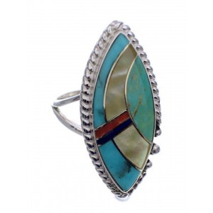 Multicolor Inlay Sterling Silver Jewelry Ring Size 5-1/2 UX33666