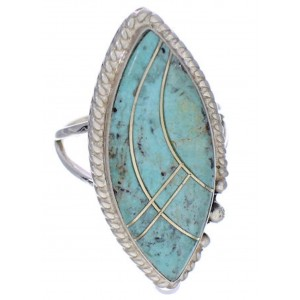 Turquoise Inlay Sterling Silver Jewelry Ring Size 7-3/4 UX33971