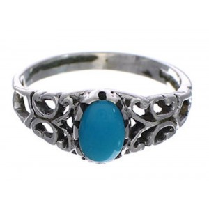 Sterling Silver Turquoise Southwest Jewelry Ring Size 6-3/4 UX34023