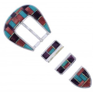 Multicolor Sterling Silver Ranger Belt Buckle PX38093