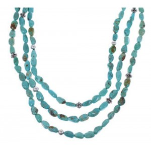 American Indian 3 Strand Turquoise Bead Necklace EX32985