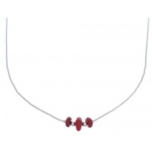 Coral And Liquid Silver Bead Necklace EX33083