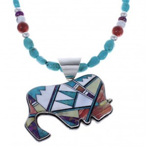 Multicolor Buffalo Sterling Silver Necklace Pendant Set PX34927