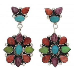 Southwest Multicolor And Silver Earrings EX32516