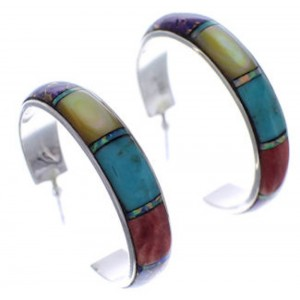 Silver Multicolor Inlay Southwest Post Hoop Earrings PX24867