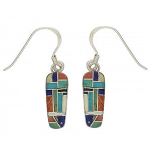 Multicolor Inlay Southwestern Silver Earrings EX32068