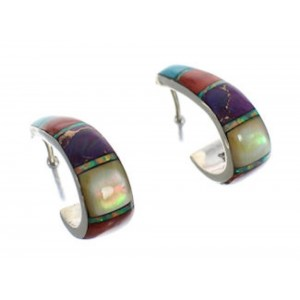 Southwest Jewelry Multicolor Sterling Silver Hoop Earrings EX24370