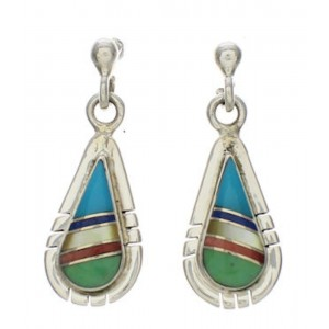 Southwestern Sterling Silver Turquoise Multicolor Earrings TX26262