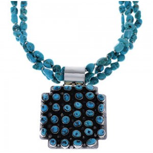 Navajo Turquoise And Silver Pendant Necklace Set PX24856
