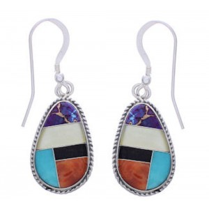 Southwest Multicolor Inlay Sterling Silver Earrings FX31207