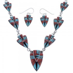 Southwest Silver Jewelry Multicolor Link Necklace And Earrings PX36959