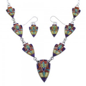Multicolor Inlay Jewelry Silver Earrings Link Necklace Set PX36964