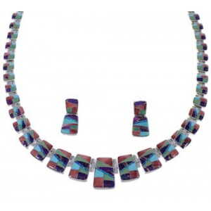 WhiteRock Silver Multicolor Earrings Link Necklace Set PX37168